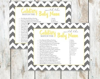 Grey Chevron Celebrity Baby Shower Game Instant Download- Baby Shower Printable