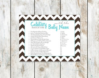 Chocolate Celebrity Baby Shower Game Instant Download - Baby Shower Printable