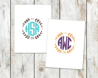 Design your Own Circle Monogram Stationery - Teacher Appreciation Gift