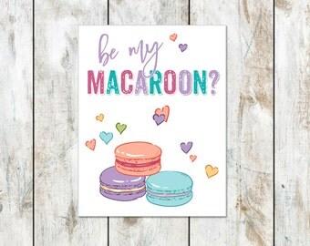 Macaroon Valentine Printable - French Macaroons Valentines - Valentines Day Macaroon Cards - Be My Macaroon Printable