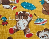 Sweet Teddy Bear Curtain  - Vintage Fabric Whimsical Toys Animals Trains Kids Juvenile