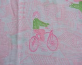 Mod Novelty Print - Vintage Fabric Juvenile Bicycles Teens Lime Green Hot Pink