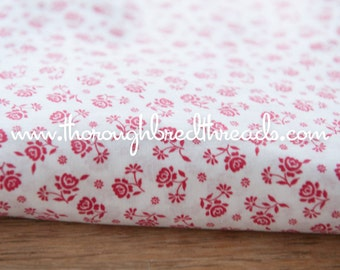 Red and White Floral - Vintage Fabric 50s New Old Stock Floral 36 in wide Doll Clothes