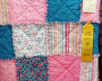 """Rag Quilt Mint Green and Peach, Toddler/Baby Handmade Size 44"""" X 56"""", 100% Cotton"""