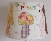 Lampshade d24cmxh17cm applique hedgehog mushrooms and bunting