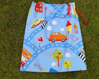 Large drawstring library bag for boys, cars on the road, toy bag, storage bag