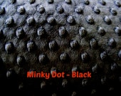 DESTACH 24 inch by 59 inch Black Minky Fabric - Minky Dot - Minky fabric by the yard