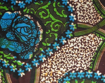 West African cotton print - 1/2 yard of blue and green heart