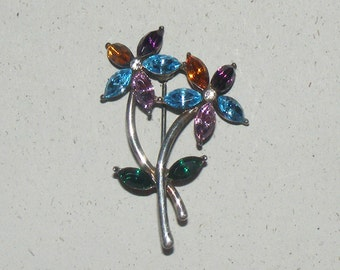 Vintage Monet Multi Color  Rhinestone Flower Brooch Brooch