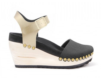High Wedge with Ankle Strap | Custom, Vegan, Handmade | 6 Color Options