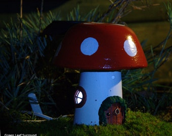 Fairy House - Add Magic to your Garden with the charming Toadstool Cottage - a Hand Made Solar Light Up Outdoor Ornament