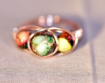 8 1/2 Wire Wrapped Ring w/ Ocean Sediment Jasper beads