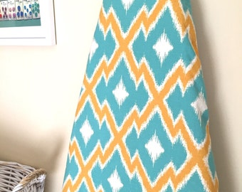 Ironing Board Cover - Aztec Ikat in teal and orange