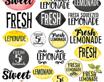 Watercolor Lemon - Lemonade Word Art-  Digital Photographer Clipart Word Overlays- Instant DOWNLOAD