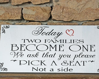 Today Two Families Seating Sign - Wedding Signs - Wedding Decorations - Seating Signs 20x9