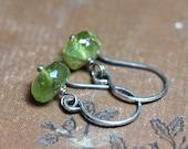 Bright Green Peridot Earrings Green Gemstone Earrings Sterling Silver Wire Wrapped Dangles