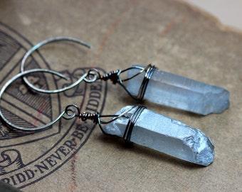 On Sale Blue Quartz Crystal Point Earrings Antiqued Sterling Silver Earrings Rustic Jewelry