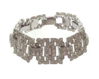 Antique Art Deco Designer Bracelet, Vintage Rhinestone Link, Antique 1920s Statement Bridal Jewelry, Wedding Jewellery