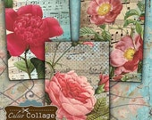 Printable, Rose Collage Sheet, Digital ATC, Vintage Flowers, Decoupage Paper, Earring Cards, Journal Spots, Jewelry Cards, Printable Cards