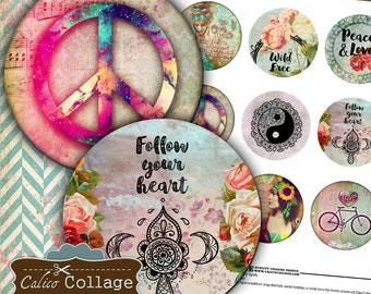 Pocket Mirror Collage Sheet - Boho Collage Sheet - 2.5 inch circles Printable download images for pocket mirrors, paperweight