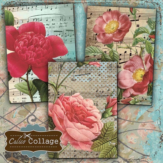 Rose Collage Sheet - Printable Tags - 2.5x3.5 Collage Sheet - Earring Cards - Digital Collage Sheet - Floral Collage Sheet - Decoupage