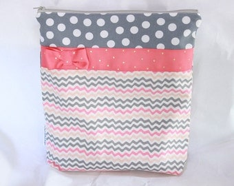 Wet bag,cotton print with a ribbon and bow,pul lined, 11 X 12 inch wet bag