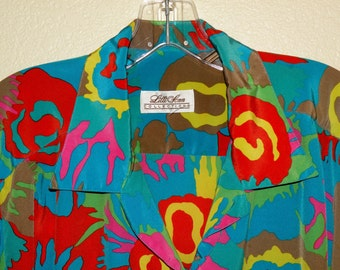 XL Lilli Ann Abstract Print Blouse Shipped Free