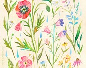 Meadow Study Art Print | Watercolor Painting | Floral Pattern | Katie Daisy | 8x10 | 11x14
