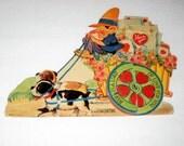 Vintage Valentine Card -  Elf on Flower Cart with Honeycomb Wheel