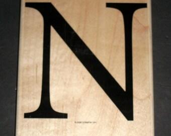 Large Unused Rubber Stamp - Stampin' Up Monogram Letter N