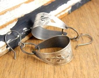 Feminine statement earrings, lightweight sterling silver earrings, hand-cut leaves, 2 inches long.