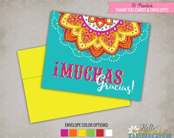 Custom Mexican Thank You Cards, Fiesta Mexicana Thank You Notes, Mexican Lace Card, Muchas Gracias #B115