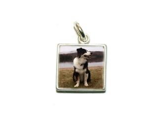 Custom Photo Charm/ Small 10 mm Silver Square