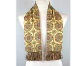 Vintage 50s Jacquard Opera Scarf by Forsyth in a medallion print with fringe