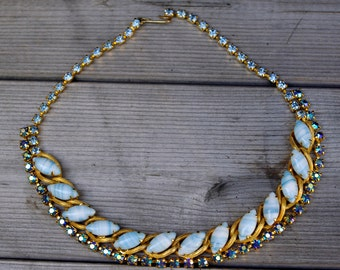 Vintage Bead and Rhinestone Necklace Blue