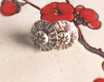 Hammered Recycled Sterling Silver Stud Earrings
