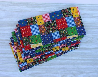 Napkins Everyday Vintage Patchwork Retro Set of 6
