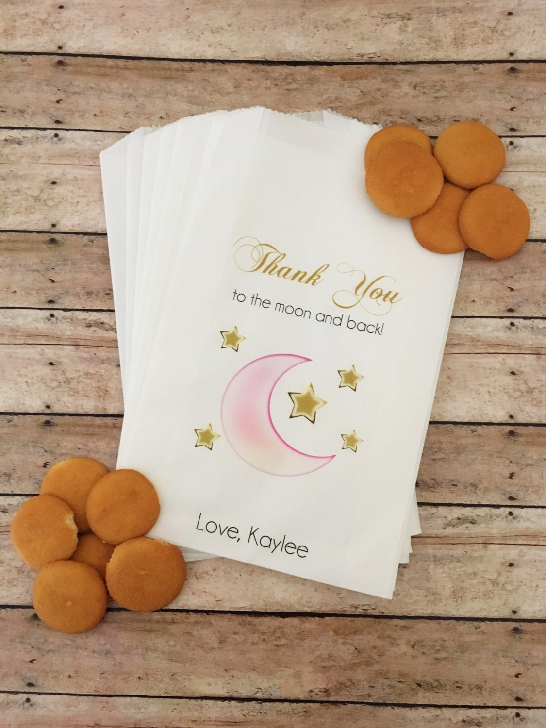 baby shower treat bags love you to the moon and back baby