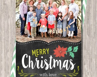 Chalkboard Photo Christmas Card :Merry Christmas Custom Photo Holiday Card
