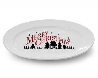 """DIY Christmas Plate Charger Christmas Decoration Decal """"Merry Christmas Winter Homescape"""" Holiday Plate Decal Sticker Holiday Decoration"""