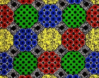 African Fabric 1/2 Yard Cotton BLUE GREEN YELLOW Red Geometric