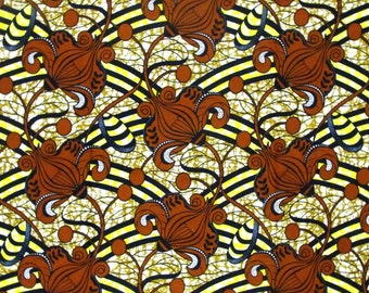 African Fabric 1/2 Yard Cotton BROWN YELLOW BEIGE  Abstract