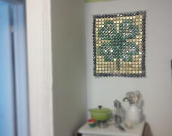 Four Leaf Clover - bottle cap tapestry