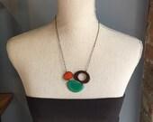Three piece cluster necklace orange jade brown