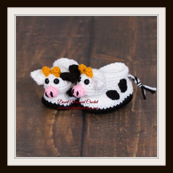 Dairy Cow Baby Booties - 5 Sizes - Made To Order