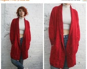 Valentine SALE vintage 80s sweater coat / oversize cardigan / red boucle salt and pepper cardigan