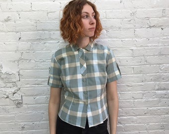 vintage 50s school girl plaid button down shirt / 1950s cotton short sleeve top