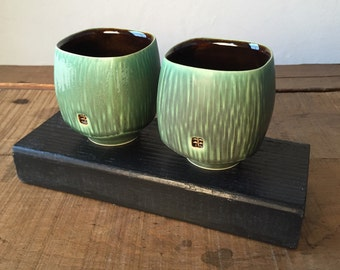 Pair of Small Square Cups - Dark Green