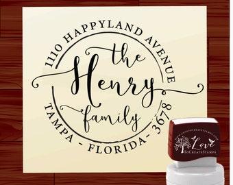Calligraphy Address Stamp, Custom Return Address Stamp Self Inking, Custom Name Stamp, Wedding Address Stamper (115) by LoveToCreateStamps