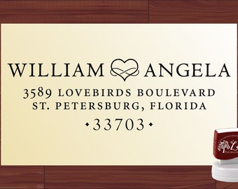 Infinity Heart ADDRESS STAMP - Personalized Self Inking Return Address Name Stamper - 1170A